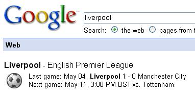 google onebox result for football