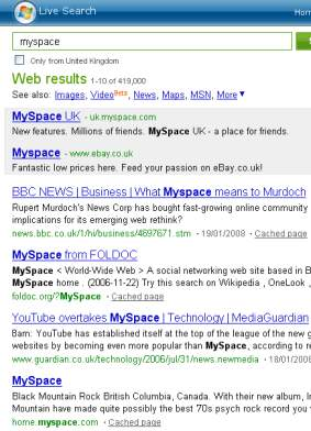 search for myspace
