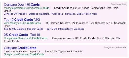 Googles New Credit Card Comparison Ads